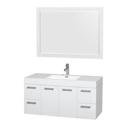 """Wyndham Collection(R) - Amare 48"""" Wall-Mounted Bathroom Vanity Set with Integrated Sink by Wyndham Colle - The Wyndham Collection is an entirely unique and innovative bath line. Sure to inspire imitators, the original Wyndham Collection sets new standards for design and construction. The Amare wall-mounted vanity family delivers beautiful wood grain exteriors offset by modern brushed chrome door pulls. Each vanity provides a full complement of storage areas behind sturdy soft-close doors and drawers. This versatile vanity family is available with distinctive vessel sinks or sleek integrated counter and sinks to fulfill your design dreams. A wall-mounted vanity leaves space in your bathroom for you to relax. The simple clean lines of the Amare wall-mounted vanity family are no-fuss and all style. Amare Bathroom Vanities are available in multiple sizes and finishes.FeaturesConstructed of the highest grade MDF, engineered for durability to prevent warping and last a lifetime 8-stage preparation, painting and finishing processHighly water-resistant low V.O.C. sealed finishUnique and striking contemporary designModern Wall-Mount DesignMinimal assembly requiredDeep Doweled DrawersFully-extending soft-close drawer slides Concealed soft-close door hinges Backsplash not availableAcrylic-Resin integrated sink Rectangular Sink Single-hole faucet mountFaucet(s) not includedMirror includedMetal exterior hardware with brushed chrome finish Two (2) functional doors Four (4) functional drawers Plenty of storage space Plenty of counter spaceIncludes drain assemblies and P-traps for easy assembly How to handle your counter Spec Sheet for Vanity Installation Guide for Vanity Spec Sheet for Mirror Installation Guide for Mirror Spec Sheet for Amare Rotating Wall Cabinet with Mirror (WC-RYV202) Spec Sheet for Amare Bathroom Wall Cabinet (WC-RYV205)Installation Guide for Amare Bathroom Wall Cabinet (WC-RYV205) Spec Sheet for Amare Bathroom Wall Cabinet (WC-RYV207-WC)Installation Guide for"""