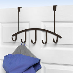 Hooks & Racks - Add extra storage to any room in your home with the Allegro Over the Door 5-Hook Rack from Spectrum. This rack provides a functional and stylish way to hang your hats, coats, clothing items, purses, towels, robes and more. Made of sturdy steel, the smooth clean lines of the Allegro collection will add a contemporary touch to your home. Fits doors up to 1-3/4'' thick.