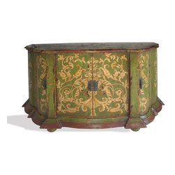 Koenig Collection - Old World Buffet Ashley, Distressed Green Baroque - Ashley Buffet, Distressed Green Baroque with Scrolls