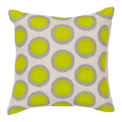 Surya Rugs - Papyrus Limeade and Pewter Polyester Filled 22 x 22  Pillow - - Add fun to any room with this polka-dot design and colors of papyrus limeade and pewter. This pillow has a polyester fill and zipper closure. Made in India with one hundred percent linen this pillow is durable and priced right  - Cleaning/Care: Blot. Dry Clean  - Filled Material: Polyester Filler Surya Rugs - AR091-2222P