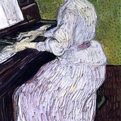 """Vincent Van Gogh Marguerite Gachet at the Piano  i Print - 14"""" x 28"""" Vincent Van Gogh Marguerite Gachet at the Piano premium archival print reproduced to meet museum quality standards. Our museum quality archival prints are produced using high-precision print technology for a more accurate reproduction printed on high quality, heavyweight matte presentation paper with fade-resistant, archival inks. Our progressive business model allows us to offer works of art to you at the best wholesale pricing, significantly less than art gallery prices, affordable to all. This line of artwork is produced with extra white border space (if you choose to have it framed, for your framer to work with to frame properly or utilize a larger mat and/or frame).  We present a comprehensive collection of exceptional art reproductions byVincent Van Gogh."""