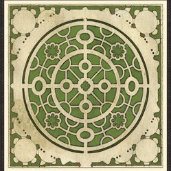 Soicher-Marin - Large Garden Plan A, Green - Giclee Print with a Black Ornate wooden frame with decorative line pattern floated on an off white mat.  Includes glass, eyes and wire. Made in the USA. Wipe down with damp cloth