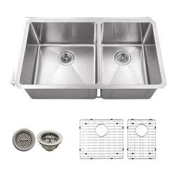 Schon - Schon 16 Gauge 32 3/4 x 19  x 10 D 60/40 Sink - SCRA604016 Schon Undermount 16 Gauge Schon Stainless Steel Radius 60/40 Undermount Sink 32 3/4 x 19, Grids, Strainers
