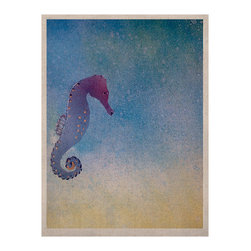 "Kess InHouse - Infinite Spray Art ""Seahorse"" Blue Painting Naturals Canvas (11"" x 14"") - Display your favorite KESS Naturals Canvas with organic elegance. KESS InHouse is proud to feature our entire artist gallery as the KESS Naturals collection. These unique artworks are recreated on a recycled burlap using only eco-friendly inks. They have a rustic fabric feel that we suggest framing without glass to fully convey the luxe texture of these prints. This eco-friendly material has been used by artists for centuries as an alternative to canvas. Upon ordering you will receive the artwork frameless to give you the best possible shipping and framing flexibility."