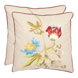 Safavieh - Safavieh Holly 18 In. Cream Decorative Pillows - Set of 2 - PIL800A-1818-SET2 - Shop for Pillows from Hayneedle.com! Bring home the colors of spring with the Safavieh Holly 18 in. Cream Decorative Pillows - Set of 2. It features a floral motif in appealing shades of green red blue and yellow against a beige background which enhances your home decor-style. Covered in cotton and linen fabric these pillows are as visually appealing as they're cozy. Additionally a polyester filling makes each pillow hypoallergenic. You can use them as decorative pillows on a couch or chair or as throw pillows on your bed.Please note this product does not ship to Pennsylvania.