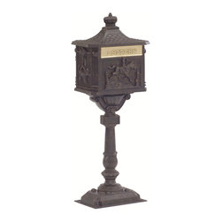 Victorian Pedestal Mailbox - The Victorian Pedestal Mailbox has a classic look with an old world feeling. Constructed of cast aluminum, these residential mailboxes feature a polished brass swinging mail slot. This locking post mount mailbox comes in timeless powder coat finishes to match the look and design of the decorative mailbox post.