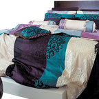 Blooming Home Decor - 820TC Turquoise, Purple & Black Damask Sheet Set, Full - Drift off to dreamland wrapped in luxury with this queen sheet set featuring vibrant colors that lend hints of glamor and royalty. With 820-thread count sheets and 100% high quality cotton throughout, the bold turquoise and purple stripes nestle between a soothing ivory pattern – making it perfect for either a dark or pale-hued room.