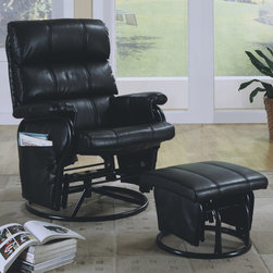 "Monarch - Black Leather-Look / Swivel Rocker Recliner with Ottoman - Comfortable black leather-look material dresses up the heavy duty steel frame of this swivel glider recliner with ottoman set. Rounded bases on the ottoman and chair feature built in glider functions that enhance the reclining seat for custom comfort. Three tiers of plush pillow backing on the seat back are further refined with accent stitching that continues on the ottoman. Features include side pockets to put remotes, books or magazines and tjhe adjustable tension knob allows you to control the back pitch for relaxing at just the right angle.; Assembly required; Weight: 48.5 lbs; Dimensions: 35""L x 31.5""W x 42.5""H"
