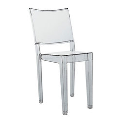 """Kartell - La Marie Chair (Set of 4) (Set of 4) - A classic design with the distinction of being the world's first completely transparent chair, La Marie Chair is at once delicate and robust. Philippe Starck's first entry into the Ghost series of seating, La Marie sports a clean, classic chair design that takes center stage through its innovation in material. Made of a single block of transparent or batch-dyed polycarbonate, the chair is sturdy and durable while maintaining a light, gossamer appearance. Suitable for indoor and outdoor use, La Marie has been featured in numerous magazines and adds elegance and lively panache to a variety of settings. Designed by: Philippe Starck, 1998 Features at a Glance: La Marie Chair Features: -Made of transparent or batched-dyed polycarbonate. -Shock, scratch and weather resistant. -Stackable up to seven chairs high. -Can be used indoors or outdoors. -Suitable for residential or commercial use. -Enjoy a discount on a set of 4 La Marie Chairs. -Made in Italy. Specifications:  Dimensions: -34.5"""" H x 15.25"""" W x 20.5"""" D. -Seat Height: 18.13"""". Quality: -In 2005, Kartell received Helping the Environment: -Kartell products use a wide variety of plastic materials, thereby reducing the use of living organisms, such as trees, which are difficult and time-consuming to replace. -Most Kartell products are easily recycled and product components can be separated to elements made of a single material to simplify the recycling process. Plastic components also carry clear identification marks to aid correct separation of different plastic types for effective recycling. Care and Maintenance: -Kartell products are easy to clean and require only simple care to remain in excellent condition. Order with Confidence: -Authentic Kartell products are guaranteed to be free from defects in materials and workmanship for a period of 12 months under normal use and under conditions for which the items were designated. -Should you discover shortly after receiving"""