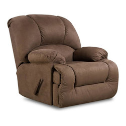 American Furniture - Upholstered Rocker Recliner (Dark brown) - Color: Dark brownCannot be shipped to California - not compliant with CA code. Upholstered. Pictured in Dark Brown. 40 in. W x 41 in. D x 42 in. H