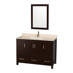 "Wyndham Collection - Wyndham Collection Sheffield 48"" Espresso, Ivory Marble, Square Sink - Wyndham Collection®"