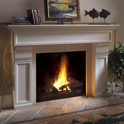 Fletcher Stone Fireplace Mantel - Sleek curves and a stylish design characterize the Fletcher stone fireplace mantel. Available in both custom and standard sizes, imagine it in your living room today!
