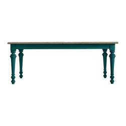 Stanley - Coastal Living Retreat Rectangular Leg Table, Belize Teal - The relaxed look of a cerused oak top paired with a colorful painted base and turned legs makes this table feel right at home.