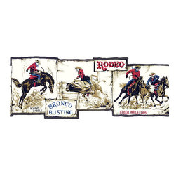 York Wallcoverings - Black Framed Rodeo Scene Photos Wallpaper Border - Wallpaper borders bring color, character and detail to a room with exciting new look for your walls - easier and quicker then ever.