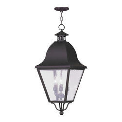 Livex Lighting - Livex Lighting-2547-07-Amwell - Four Light Outdoor Chain Hanging Lantern - *Canopy Included: Yes