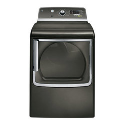 GE 7.8 cu. ft. capacity electric dryer with stainless steel drum and steam - Features: