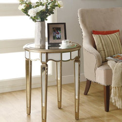 Monarch - Mirrored 24-inch Dia Scalloped Accent Table - Update your home decor with this sophisticated scalloped accent table. This circular accent table features a mirrored top,legs,and skirt. Its decorative scalloped edges add a touch of glamour to any room,while the tapered legs boast an elegant style.