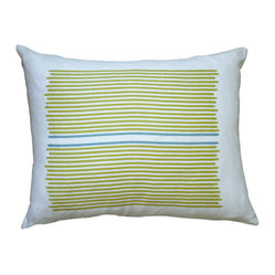 Hand Printed Linen Pillow - Louis Stripe, Yellow/Blue, 14 x 18