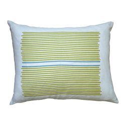 Balanced Design - Hand Printed Linen Pillow - Louis Stripe, Yellow/Blue, 14 x 18 - When it comes to softness, style and functionality, this pillow earns its stripes. Loose stripes are hand-printed on 100 percent soft white linen. The pillow features a zipper closure and an ecofriendly insert made from recycled plastic and feathers, and comes in your choice of sizes and colors.