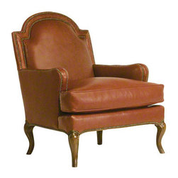 Baker Chair - 465 - Unusual domed tight back with a cushioned frame. Double nailhead border detail extends from the back to the arm. Loose cushion over nail-trimmed base and short cabriole legs.