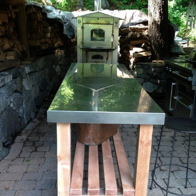 Stainless steel outdoor kitchen - Stainless steel rustic table