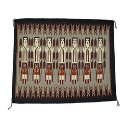 Navajo Wall Tapestry with Yei Dancers - This vintage Navajo wall tapestry features hand-woven wool Yei Dancers. The rug has a wooden panel in the back for wall hanging and looks great when combined with a Mid-Century Modern decor.