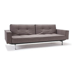 "Innovation USA - ""Innovation USA"" Splitback Mixed Dance Light Grey Sofa Bed with Chrome Legs - Create a pleasant atmosphere in your living room with the ""Innovation USA"" Splitback Mixed Dance Light Grey Sofa Bed with Chrome Legs. It has a modern style. This sofa can be converted to chaise or sofa bed position. Comfortable armrest will give additional comfort.    Features:"
