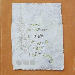 """""""Always Taste Your Words Before You Spit Them Out"""" Artwork - Reclaimed leather, silvery threads and silver leaf comprise this playful yet graphic composition. the reclaimed leather element is float mounted above an energetically painted heavy canvas. very textural. this piece has wide sides that are painted as well, so framing is not required if you so choose. lisa bolin's paintings are one-of-a-kind originals, and her work is in collections across the country. this piece comes to you safely packed and quickly shipped. it arrives wired and ready to hang in that special space you have in mind. if you have need for a piece in a specific colour palette or size, lisa bolin cheerfully welcomes custom commissions. thank you for looking!"""