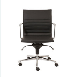 Eurostyle - Kyler Low Back Office Chair-Black/Chrome - Leatherette over foam seat and back