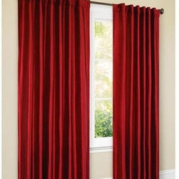 Canopy Faux-Silk Thermal Interlined Curtain Drapery Panel - Hang some inexpensive red drapery panels for a quick festive change.