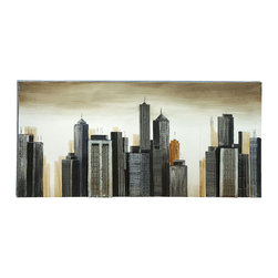 Benzara - Modern Style Painting of a Modern City Scape - Whether hanging it in your 27th floor apartment, or in the guest room of your suburban retreat, the contemporary piece creates a mystery and wonder of the urban, city lifestyle. A city scape painted in many shades of black and grey in the foreground, while a non-descript void lingers in the background, painted in shades of browns and yellows.