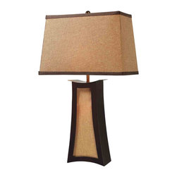 Dimond Lighting - Dimond Lighting D1834 Convergence Espresso Table Lamp - Convergence Table Lamp in Wood and Natural Linen with Woodlawn Toast Shade with Dark Gold Liner