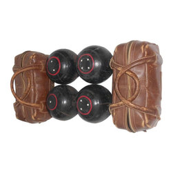 SOLD OUT! Set of 4 Bocce Balls with 2 Leather Carrying Cases - $980 Est. Retail -