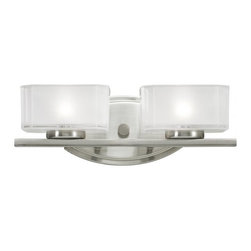 2 Light Brushed Nickel Frosted White Inside And Clear Outside Glass Glass Vanity - This double vanity light has an eye-catching contemporary design with brushed nickel finish, and square cube glass frosted white inside and clear outside.