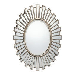 Quoizel - Quoizel Mirror X-3141RQ - The beautiful sunburst-like pattern of this circular Quoizel Lighting mirror gives it an elegant contemporary appeal that is sure to delight. The circular mirror features arms in two lengths, each with its own mirror accent, to create an eye-catching appearance. The aged-like appearance of the silvery finish completes the look.