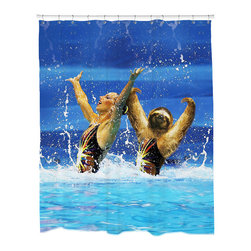 Sharp Shirter - Sharp Shirter Synchronized Sloth Shower Curtain - This curtain is printed in USA!. Hooks sold separately. Disclaimer: If you order multiple items, they may ship from separate locations.