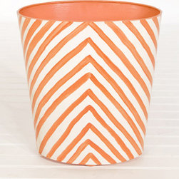 Worlds Away Oval Wastebasket Zebra Print, Orange - I need to give some more serious thought to the trash cans in my house. Unfortunately, none of them look as fun as this geo-printed, tangerine one. Keep it in the guest bedroom or bath so that it stays a little less used and pristine looking.