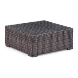 Zuo - Bocagrande Outdoor Coffee Table - The Bocagrande Coffee Table is part of a transitional set with a low profile.  The brown synthetic weave is great for all types of weather conditions and the lightweight, but durable aluminum frame makes it easy to configure the pieces for any space.  The weaving features an ombre pattern giving a fresh spin on a classic set.  The Bocagrande outdoor collection includes a corner chair, middle chair, ottoman and coffee table – each sold separately.
