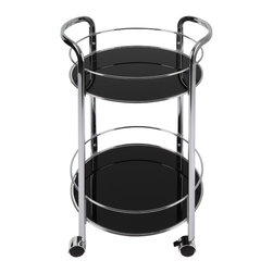 Atlantic - Black Chrome Rolling Bar Cart - Store your drinks and glassware with the rolling bar cart with side handles. Made of durable powder-coated chromed steel and tempered glass, this two-shelf cart features round black shelves with side rails to protect items, and four locking casters.