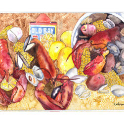Caroline's Treasures - Lobster Kitchen Or Bath Mat 24X36 - Kitchen / Bath Mat 24x36 - 24 inches by 36 inches. Permanently dyed and fade resistant. Great for the Kitchen, Bath, outside the hot tub or just in the door from the swimming pool.    Use a garden hose or power washer to chase the dirt off of the mat.  Do not scrub with a brush.  Use the Vacuum on floor setting.  Made in the USA.  Clean stain with a cleaner that does not produce suds.