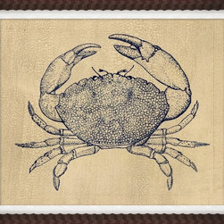 Wendover Art - Indigo Crab Study II - This striking Giclee on Paper print adds subtle style to any space. A beautifully framed piece of art has a huge impact on a room for relatively low cost! Many designers and home owners select art first and plan decor around it or you can add artwork to your space as a finishing touch. This spectacular print really draws your eye and can create a focal point over a piece of furniture or above a mantel. In a large room or on a large wall, combine multiple works of art to in the same style or color range to create a cohesive and stylish space! This striking image is beautifully framed in mahogany scallop.