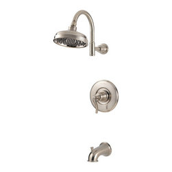 "Pfister - Pfister R89-8YPK Brushed Nickel Ashfield Ashfield Single Handle Tub - Ashfield Single Handle Tub and Shower Trim PackagePfister's traditional-themed Ashfield collection of kitchen and bathroom faucets maintains a traditional heart and is a fitting accent for today's homes. Pfister's largest collection offers the charm of vintage décor and is inspired by time-honored country traditions. The kitchen faucets feature high-arc spouts, single or double handle controls, and up to five finish options. Soap dispensers and sidesprays are optional features, and the pull out spray faucet is lead-free. The Ashfield collection also includes a selection of bathroom fixtures and accessories. The bathroom faucet's unique pump handle and trough design will delight even the most finicky homeowner, and is complemented by a gorgeous Roman tub filler. Choose from a full of bathroom accessories like towel bars, towel rings, and tissue holders.Trim package for tub and shower applications (Valve sold separately)Includes rainshower shower headIncludes shower arm and shower arm wall flangeIncludes 1 metal lever handle with wall plate (escutcheon)Includes diverter tub spoutAll brass construction - Weight: 4.5 LBSADA CompliantShower head flow rate: 2.2 gallons-per-minuteDesigned for use with standard US plumbing connectionsAll necessary mounting hardware included (Does not include valve)5"" IP threaded metal diverted tub spoutFully covered under Pfister s Pforever Lifetime WarrantyAbout PfisterFounded in 1910, Pfister (previously known as Price Pfister) is one of America's oldest and most experienced plumbing companies. As the first faucet manufacturer in the world to offer a lifetime warranty on their products, quality has always been the cornerstone of Pfister faucets. Brass bodies, ceramic disc valves, and lifetime PVD finishes name a few of the features you'll find in their product line. You will als"