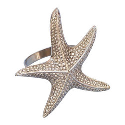 """Handcrafted Nautical Decor - Brass Starfish Napkin Ring 3"""" - Starfish Decoration - This Brass Starfish Napkin Ring 3"""" is the perfect addition for those with a nautical theme kitchen. Strong, sturdy, and durable buy a set of these napkin rings to accommodate all of your guests. The brass finish on this starfish will infuse your dining area with a nautical appearance. Dimensions: 3"""" Long x 2"""" Wide x 3"""" High"""