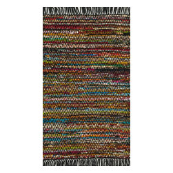 "Loloi Rugs - Loloi Rugs Gillian Collection - Black, 2'-3"" x 3'-9"" - The richly colored jewel tones of Gillian belie the casual weave of this contemporary chindi design, offering something that is both sophisticated yet relaxed. Made in India of soft-to-the-touch cotton, Gillian has fringe detailing for added style."