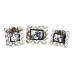 iMax - Chevron Photo Frames, Set of 3 - This set of three frames feature modern patterns in soft white and gray antiqued color with added metal embellishments.