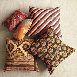 "Kantha Quilted Pillow - These beautiful pillows are made from vintage fabrics. I love their natural look, and the colors read ""fall"" to me."