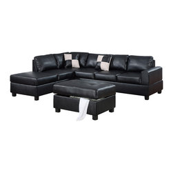 Poundex - Poundex F7355 Black Bonded Leather Living Room Sectional Sofa - The Poundex F7355 sectional sofa has a simple modern look that works for any living room decor. This sectional comes upholstered in a beautiful black bonded leather in the front. Skillfully chosen match material is used on the back and sides where contact is minimal. High density foam is placed within the cushions for added comfort. Only hardwood products were used when crafting the sectional making it very durable. The two patterned accent pillows and matching ottoman shown come included. Attached to the bottom are brown finished wooden legs.