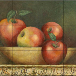 The Tile Mural Store (USA) - Tile Mural - Red Apple Still Life - Jz - Kitchen Backsplash Ideas - This beautiful artwork by John Zaccheo has been digitally reproduced for tiles and depicts a bowl of red apples.  This fruit and vegetable themed tile mural is perfect to add interest to your kitchen backsplash tile project.  Images of fruits and vegetables on tile are timeless and make an impressive kitchen backsplash idea. Wall tiles with pictures of fruits and vegetables add interest to your kitchen backsplash wall tile project.
