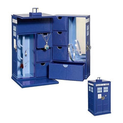 "KOOLEKOO - Doctor Who TARDIS Jewelry Box - Store your jewelry in something that deals with Time and Relative Dimension in Space with this Doctor Who TARDIS Jewelry Box. It's bigger on the inside than you might think! Complete with 6 drawers, 2 metal hooks, and a ring hanger, there's space to keep your necklaces, rings, bracelets, and Time Lord fob watches tidy. This ""sexy"" TARDIS Jewelry Box also features a built-in mirror! Both practical and stylish, it's an ideal gift for any Doctor Who fan. The box itself is made of a thick cardboard material with glossy color coating."