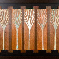 Paragon Decor - Forest for the Trees Artwork - Exclusive Hand-Cut/Oxidized Metal Trees on Hand Painted Wood Panels
